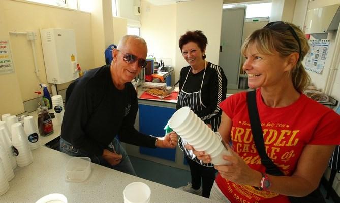 Volunteering Tom Joan Niki Kitchen Duties